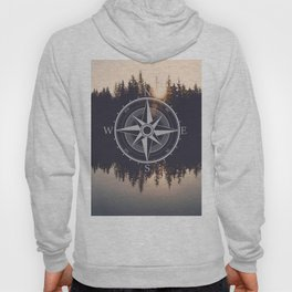 Wooded Lake Reflection Compass Hoody