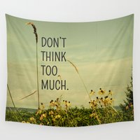 text Wall Tapestries featuring Travel Like A Bird Without a Care by Olivia Joy StClaire