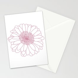 Pink Line Gerbera Drawing Stationery Cards