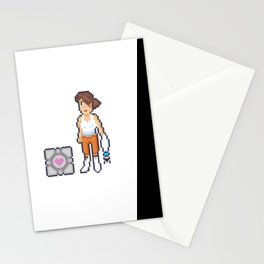 Portal 2 - Chell and Companion Cube Pixel Art Stationery Cards