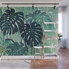Monstera Melt (in Green) Wall Mural