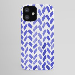 Cute watercolor knitting pattern - blue iPhone Case