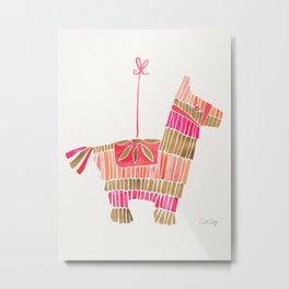 Mexican Donkey Piñata – Pink & Rose Gold Palette Metal Print