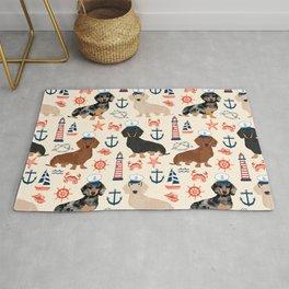 Dachshund nautical sailor dog pet portraits dog costumes dog breed pattern custom gifts Rug