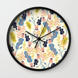 Pastel Floral Pattern Wall Clock