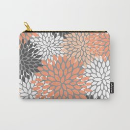 Floral Pattern, Coral, Gray, White Carry-All Pouch