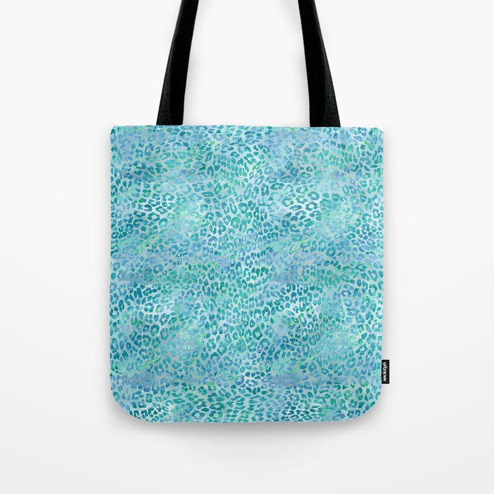 Blue Leopard Print Tote Bag