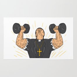 Ripped Priest Exercise Dumbbell Drawing Rug