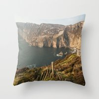 league Throw Pillows featuring Slieve League by Marie Carr