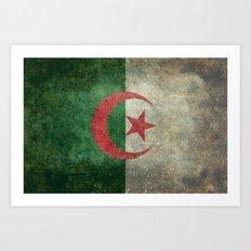 National flag of Algeria - Vintage version Art Print
