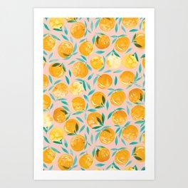 Winter Oranges | Peach Background Art Print