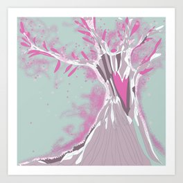 Blossoming pink tree  Art Print