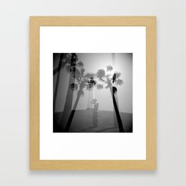 Lighthouse & Palm Trees Double Exposure Framed Art Print