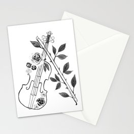 Violin, black and white Stationery Cards
