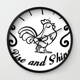 Farm and Country Rise and Shine Chicken Wall Clock