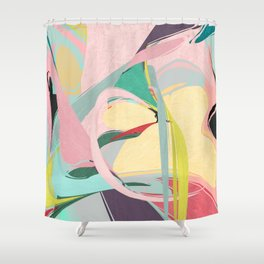 Shapes and Layers no.23 - Abstract Draper pink, green, blue, yellow Shower Curtain