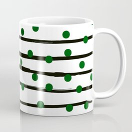 Modern black forest green polka dots stripes Coffee Mug