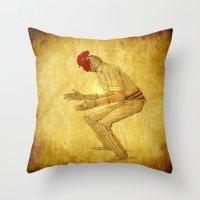 cock Throw Pillows featuring Cricket cock by Ganech joe