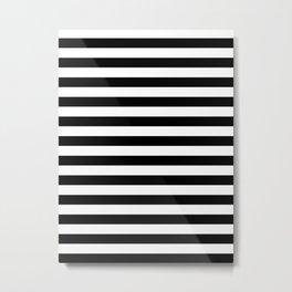 Narrow Horizontal Stripes - White and Black Metal Print