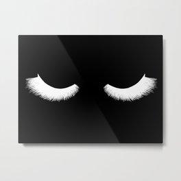 black and white eyelashes Metal Print