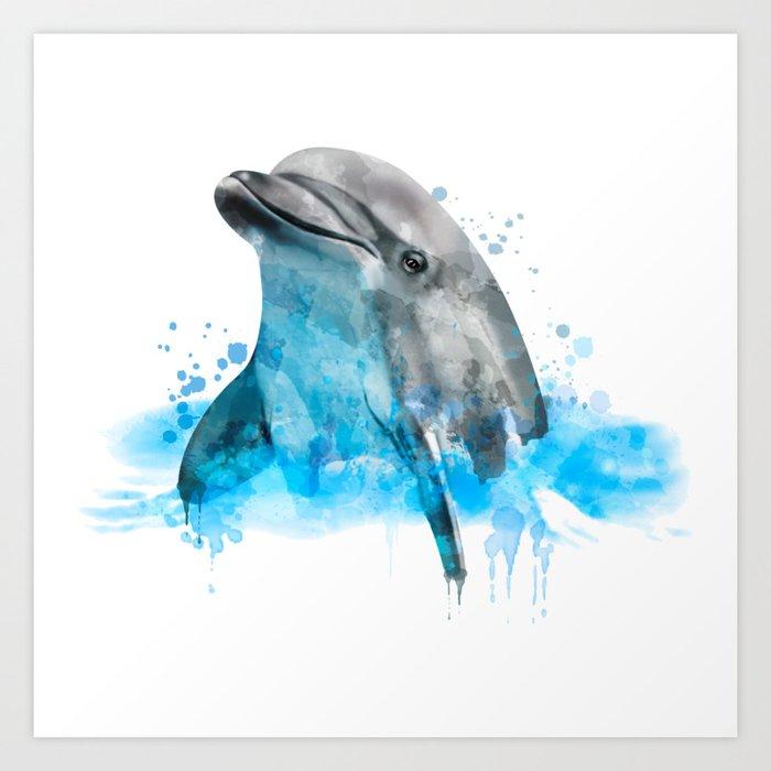 Dolphin Watercolor, Dolphin Painting, Dolphin Gift, Dolphin Poster, Dolphin  Print, Dolphin Aquarelle Art Print By Romandigitalart Society6