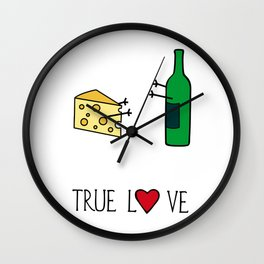 Cheese Love Wine Art Print Home Decor Kitchen Living Room Interior Printing for Wall Fun Graphic  Wall Clock