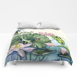 Japanese Water Lilies and Lotus Flowers Comforters