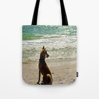shiba Tote Bags featuring Shiba Inu by Blue Lightning Creative