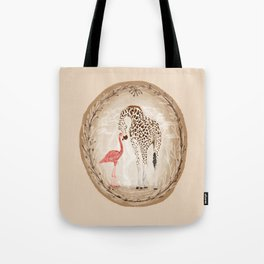 Precious Love Giraffe and Flamingo Watercolor Painting , Unlikely Lovers Hope Tote Bag