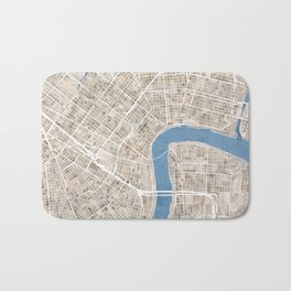 New Orleans Cobblestone Watercolor Map Bath Mat