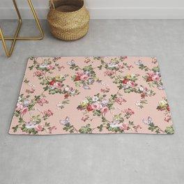 Modern Vintage Pink Coral Green Floral Pattern Rug