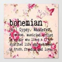 bohemian Canvas Prints featuring Bohemian by Luxe Glam Decor