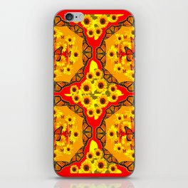 LACY RED-GOLD YELLOW SUNFLOWERS & MONARCH BUTTERFLIES iPhone Skin