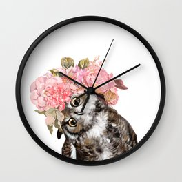 Owl with Beautiful Flowers Crown Wall Clock