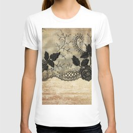 Black floral lace on wood  -Elegant and luxury design for women T-shirt