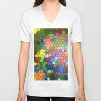stained glass V-neck T-shirts featuring Stained Glass by Inspired By Fashion