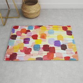 DOTTY - Stunning Bright Bold Rainbow Colorful Square Polka Dots Lovely Original Abstract Painting Rug