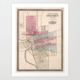 Vintage Map of Columbus Ohio (1868) Art Print