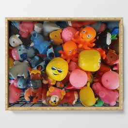Rubber dolls colorful animals Serving Tray