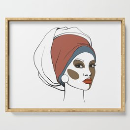 African American woman in headscarf with makeup. Abstract face. Fashion illustration Serving Tray