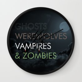 Ghosts, Werewolves, Vampires & Zombies Wall Clock