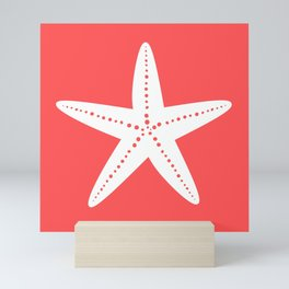 Starfish (White & Salmon) Mini Art Print