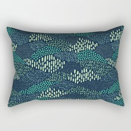Dashes and dots in blue-green // abstract pattern Rectangular Pillow