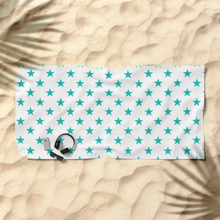 Stars (Tiffany Blue/White) Beach Towel