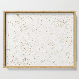 Pretty White and Gold Speckled Pattern Serving Tray