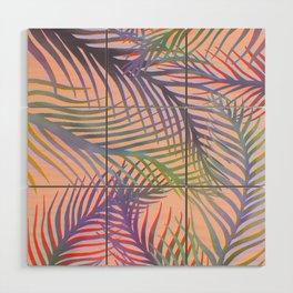 Palm Leaves Pattern - Purple, Peach, Blue Wood Wall Art