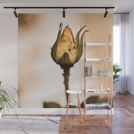 Yellow Rosebud with Bugs Wall Mural