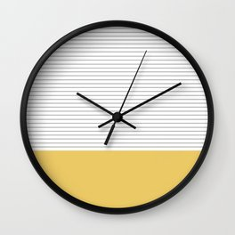Minimal Gray Stripes - yellow Wall Clock