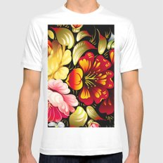 Art of Flowers White Mens Fitted Tee MEDIUM