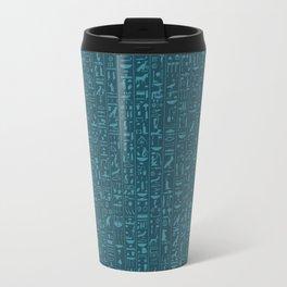 Hieroglyphics Moonstone BLUE / Ancient Egyptian hieroglyphics pattern Travel Mug